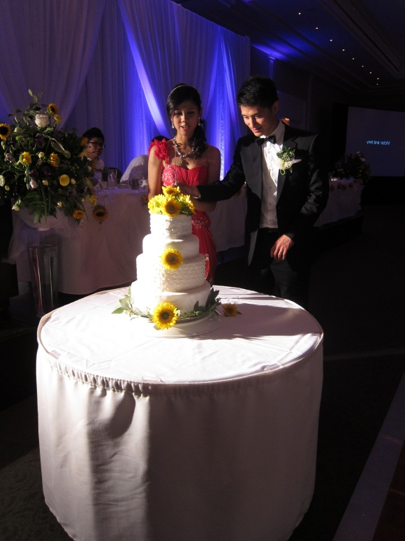 Bride and Groom with the wedding cake